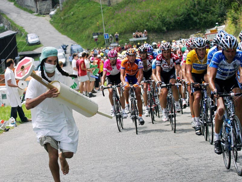 The use of drugs at the Tour de France has always been a contentious subject, as shown in this picture from the 2005 Tour
