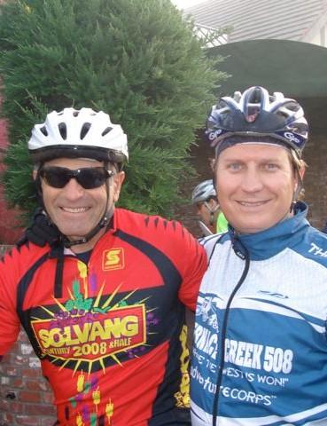 John Marino (L) and Chris Kostman at the 2008 Solvang Century.