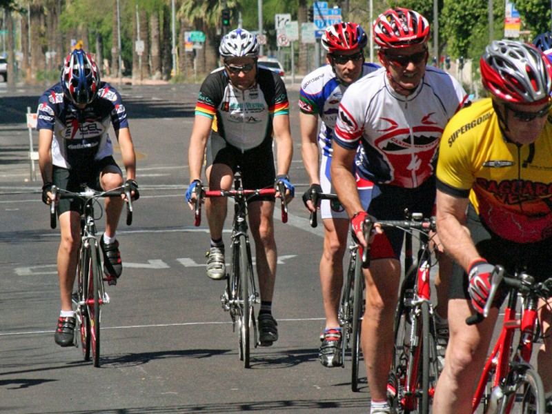 If my friends are right, I'll focus my training on finding and staying within the fastest group I can to complete El Tour de Tucson in my targeted time frame (I'm second from left)