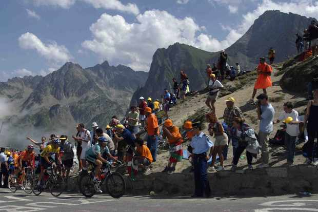 Jan Ullrich (Bianchi) leads Lance Armstrong (US Postal-Berry Floor) and Roberto Laiseka (Euskatel-Euskadi) during the climb leading to the Col du Tourmalet during the 2003 Tour de France stage 15 between Bagneres-de-Bigorre and Luz-Ardiden on July 21, 2003.