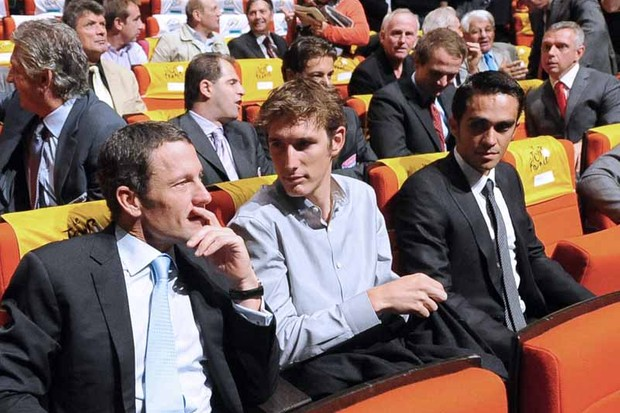 Lance Armstrong, Andy Schleck and Alberto Contador at the 2010 Tour de France presentation in Paris