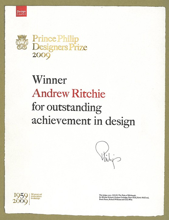 Andrew Ritchie has been awarded the Prince Philip Designers Prize