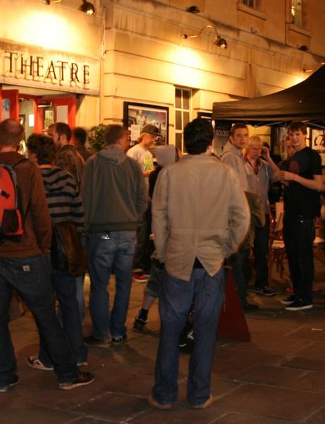 Crowds gather outside Bath's Little Theatre
