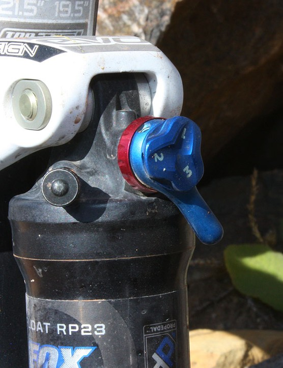 Magelky runs the ProPedal knob on his Fox RP23 rear shock at the firmest setting so it's nearly locked out when engaged