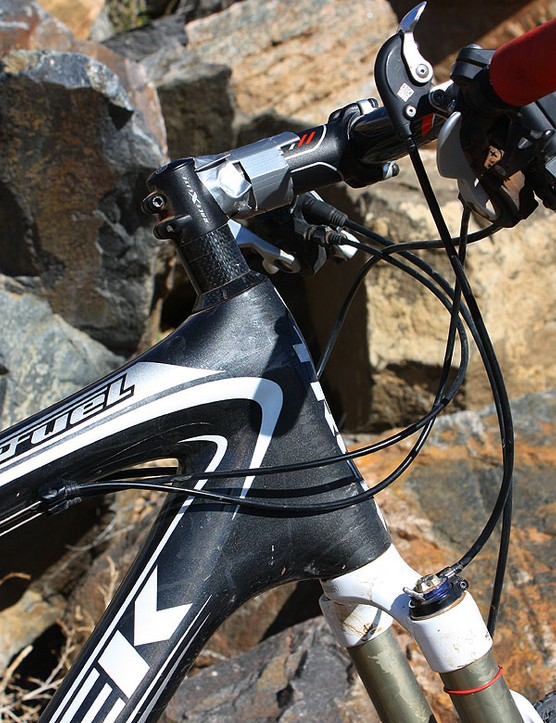 Trek opt for a non-tapered head tube on the Top Fuel to minimise weight