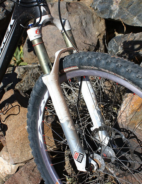 The front end of Magelky's bike is held up by a RockShox SID Race fork