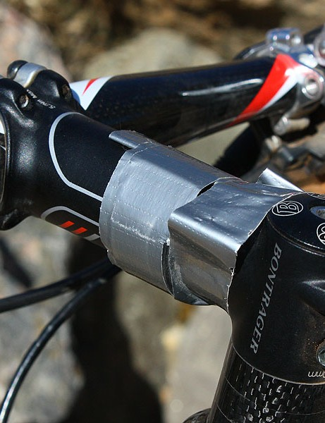 This duct tape isn't left over from holding gel packs. Magelky relied on 'normal' food during the race and the tape helped keep his handlebar lights in place