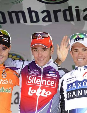 Samuel Sanchez (2nd), Philippe Gilbert (1st) and Alexandre Kolobnev (3rd)
