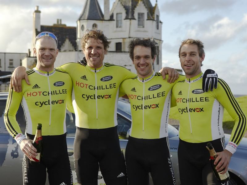 (L to R) Steve Golla, James Cracknell, Jerone Walters and Phill Sykes rode in relay from Land's End to John O'Groats