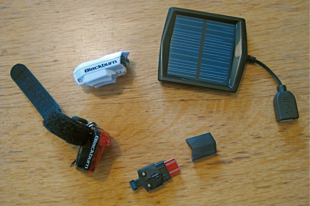 A 'smart charging' USB stick or USB-compatible solar panel charger come standard with the US$29 head or tail light.