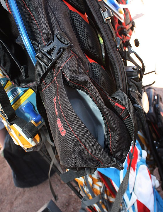 An external stash pocket on the Don is handy for items like multi-tools and energy bars