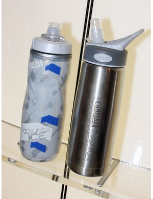 CamelBak's new Podium Ice bottle (left) uses a high-tech aerogel liner that reportedly offers twice the insulative value of the company's Podium Chill bottle. Casual users can grab the stainless steel Unbottle with a vacuum-sealed double-wall shell because the best insulator in the world is - nothing at all