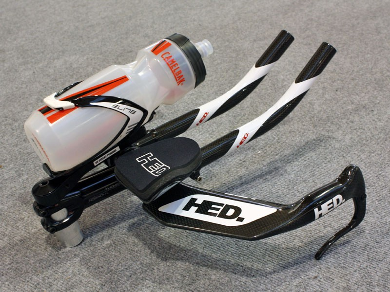 HED's new cage mount places the bottle in an aerodynamic horizontal position right between a rider's arms