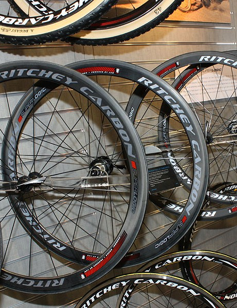Ritchey will offer a comprehensive range of carbon wheelsets for 2010, including these road-going Superlogic models using carbon-boron rims developed by Paul Lew