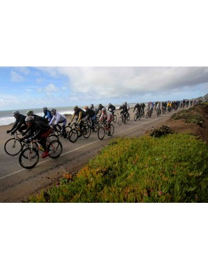 The peloton rides down Highway 1 during Stage 2 of the AMGEN Tour of California on February 16, 2009 from Sausalito to Santa Cruz, California.