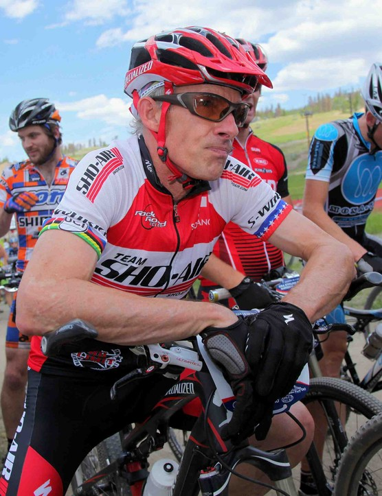 Ned Overend of Durango, Colorado prepares for the start of the Men's Pro Cross Country at the US Mountain Bike National Championships at the Sol Vista Bike Park on July 18, 2009 in Granby, Colorado. The 53 year old former World and National Champion raced to 21st place.