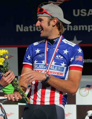 Heather Irmiger (L) and her husband Jeremy Horgan-Kobelski (R) of Boulder, Colorado take the podium after they won the Women's and Men's Pro Cross Country titles at the US Mountain Bike National Championships at the Sol Vista Bike Park on July 18, 2009 in Granby, Colorado.