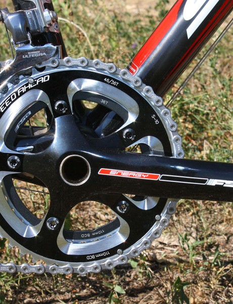 The hollow-forged FSA Energy compact crankset is fitted with 'cross-specific 36/46T chainrings
