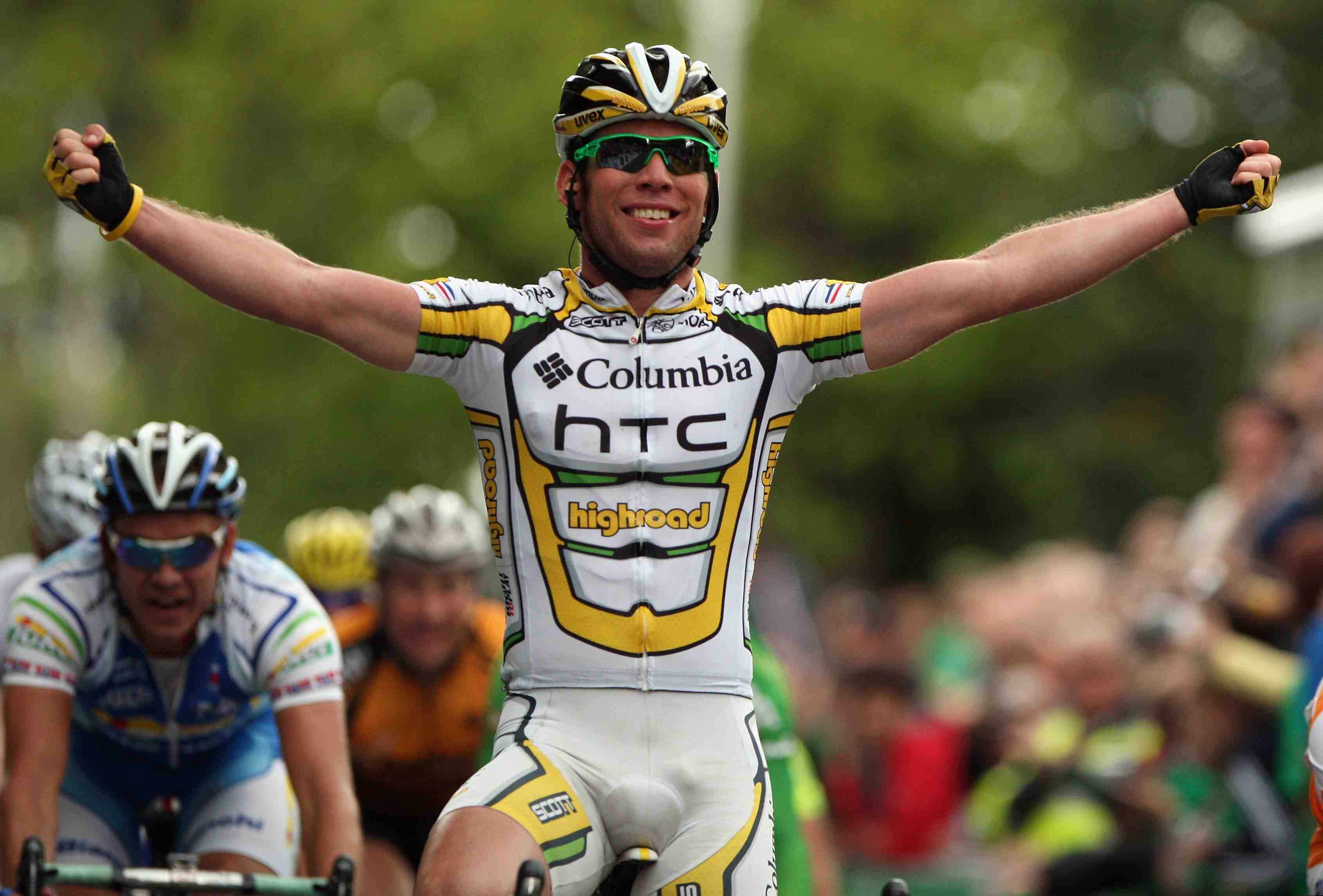 Mark Cavendish of Great Britain and Columbia-HTC celebrates winning Stage Two of the 2009 Tour of Ireland from Clonmel to Killarney on August 22, 2009 in Killarney, Ireland.