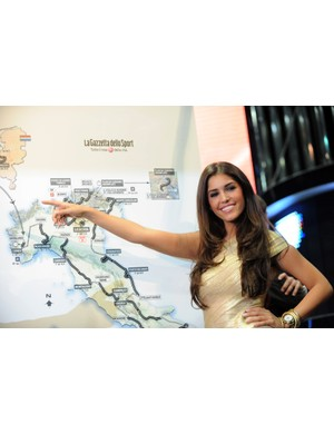 The 2010 Giro d'Italia was presented in Milan on Saturday. Dutch actress Yolanthe Cabau van Kasbergen poses next to the race route.
