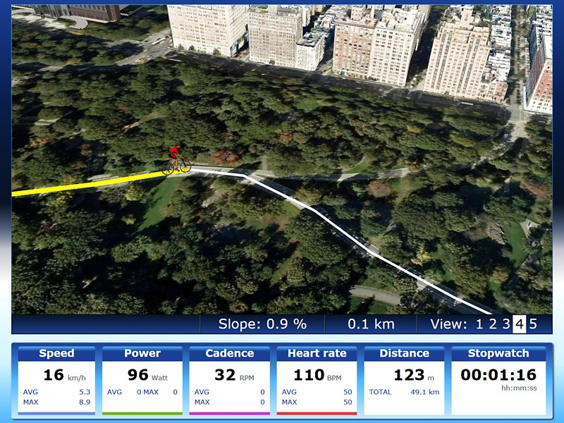 A trick interface with Google Earth allows users to create whatever course they wish - which they can then ride directly on the map