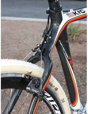 The stout-looking seatstay wishbone features a similarly stout-looking brake housing stop with an integrated barrel adjuster