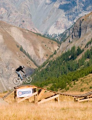Hitting the wood on the freeride trail