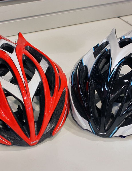 The new BBB Falcon helmet (left) features a carbon fibre and aluminium internal reinforcement structure, 23 gaping vents and deep internal channeling. The less expensive Fenix (right) does with a more conventional internal skeleton and slightly smaller vents and shallower channeling but a nearly identical appearance