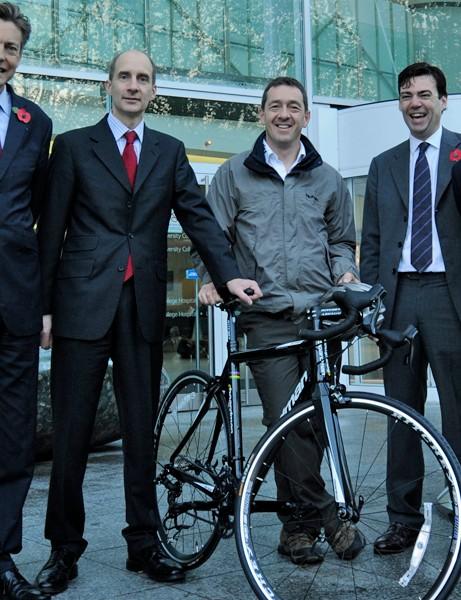 Ben Bradshaw, Lord Adonis, Chris Boardman, Andy Burnham and John Denham at the launch of the Cycle to Work Guarantee