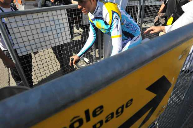 2009 Tour de France winner Alberto Contador (Astana) visits the post-race anti-doping control after stage 16 on July 21, 2009.
