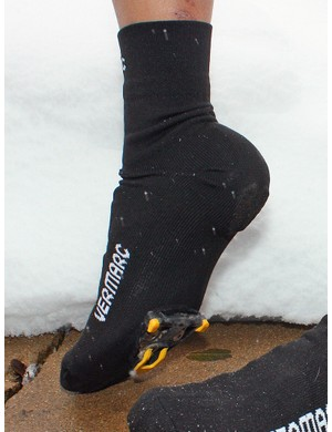 The Vermarc Sock Booties are simple in both concept and execution - they're basically just oversized, heavy-duty socks with reinforced cutouts for the cleats - but effective nonetheless for keeping your feet warm and reasonably dry in cool and damp conditions
