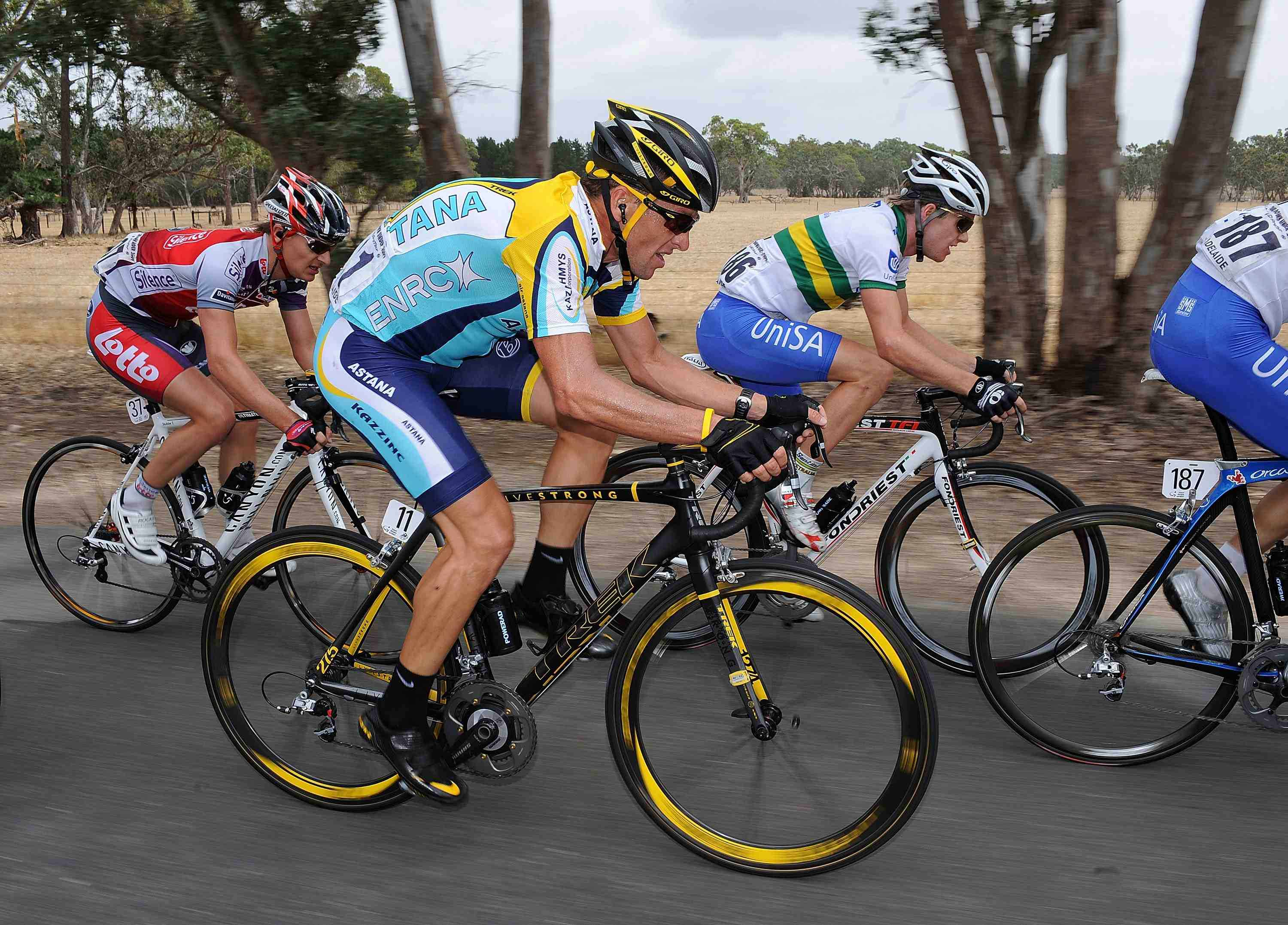 Armstrong racing the 2009 Tour Down Under on January 22.