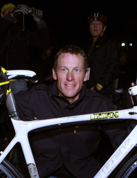 Armstrong arrives at the launch of a Nike and the Lance Armstrong Foundation's Global Art Exhibition at Montalban Theater, March 7, 2009 in Hollywood, California.
