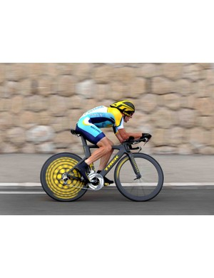 Armstrong in action during the July 4 time trial of the 2009 Tour de France in Monaco.