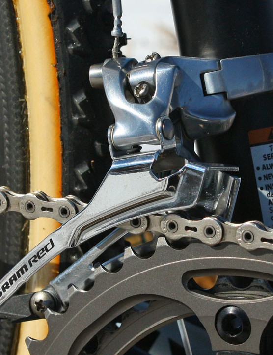 Powers' SRAM Red front derailleur is actually built with a stiffer - though slightly heavier - steel cage from a Force derailleur