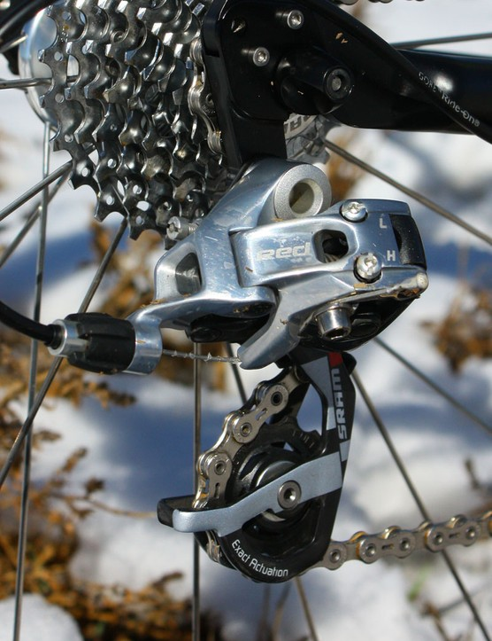 The SRAM Red rear derailleur held up well to Saturday's mud - roughly two dozen other riders throughout the day's series of races weren't quite so lucky as heavy mud clogged drivetrains