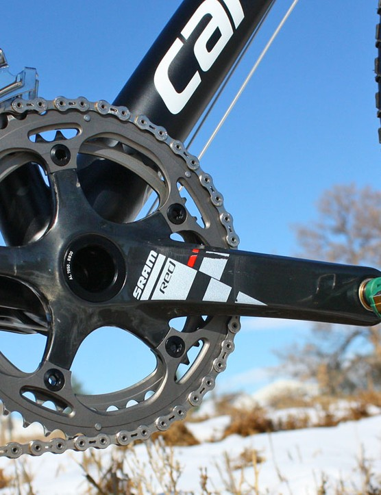 BB30-edition SRAM Red crankarms are fitted with athlete-only SRAM 'cross-specific chainrings