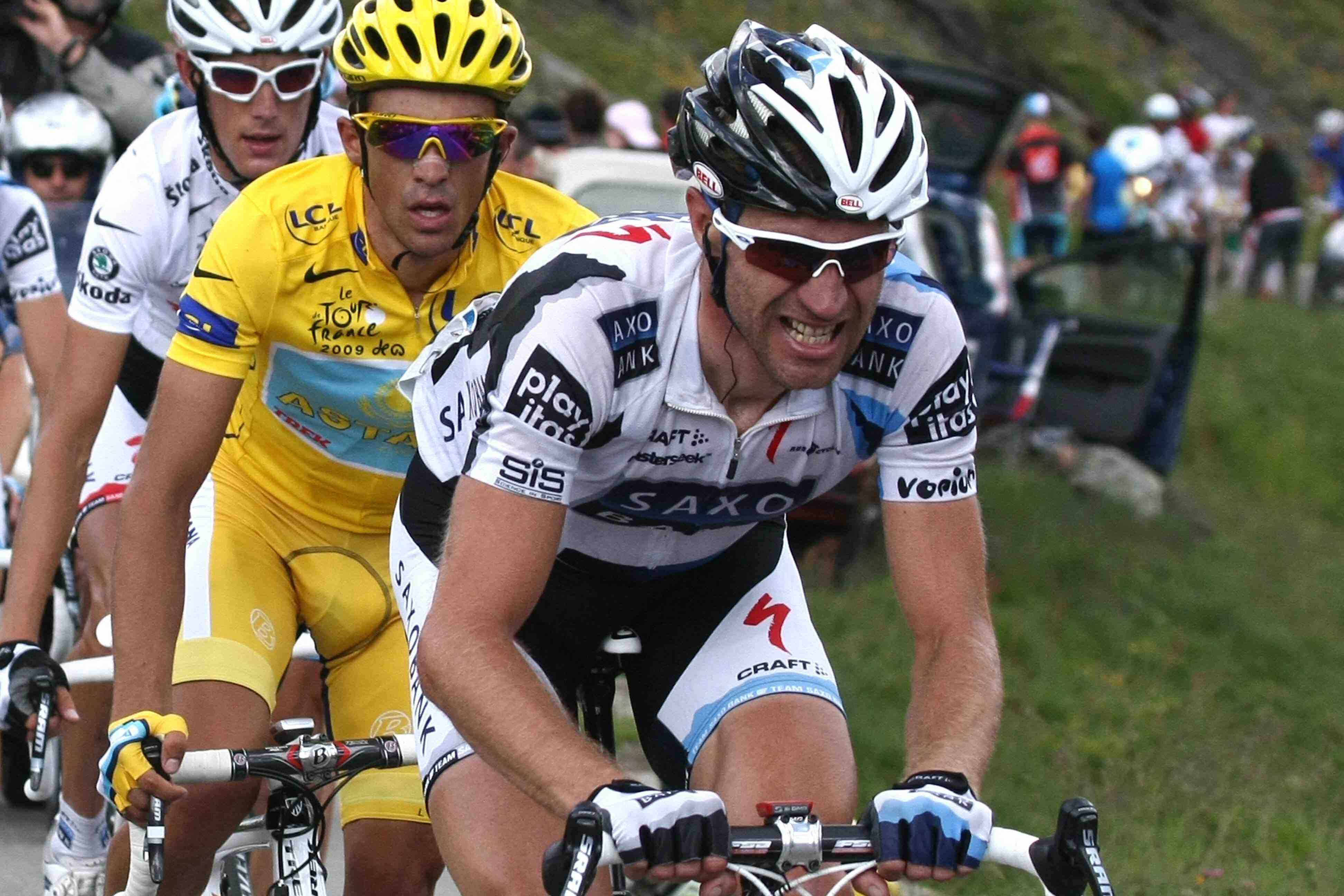 Germany's Jens Voigt leads Tour leader Alberto Contador and his Saxo Bank team-mate Andy Schleck during stage 16 of the 2009 Tour.
