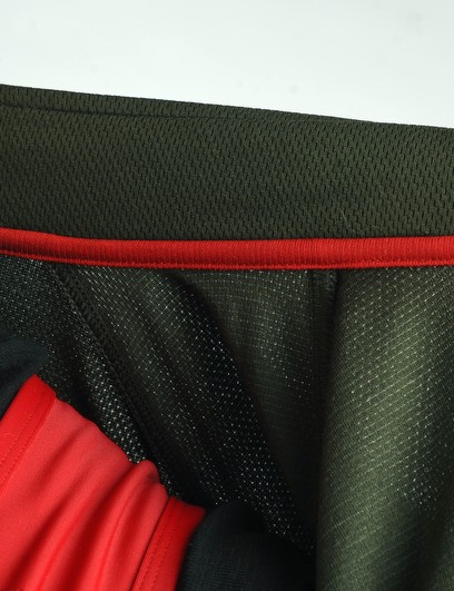 Well thought-out details include the lined stitch attaching the high-cut collar to prevent skin irritation