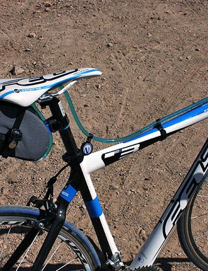 The bag attaches securely with ratching straps similar to those found on high-end cycling shoes