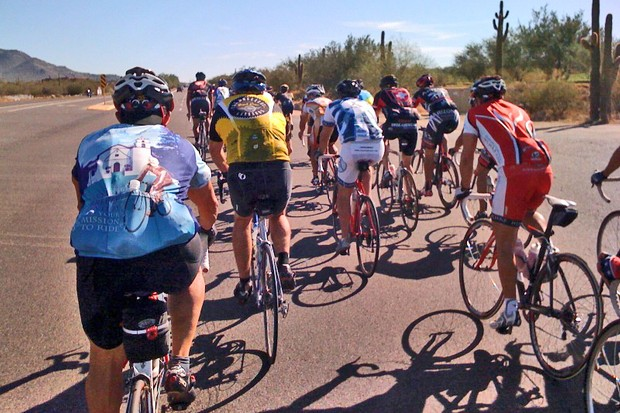 On a training ride last week – still trying to perfect riding in big groups