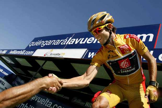 Spain's Alejandro Valverde of Caisse d'Epargne is congratulated after the last stage of the Vuelta tour of Spain, on September 20, 2009 in Madrid.
