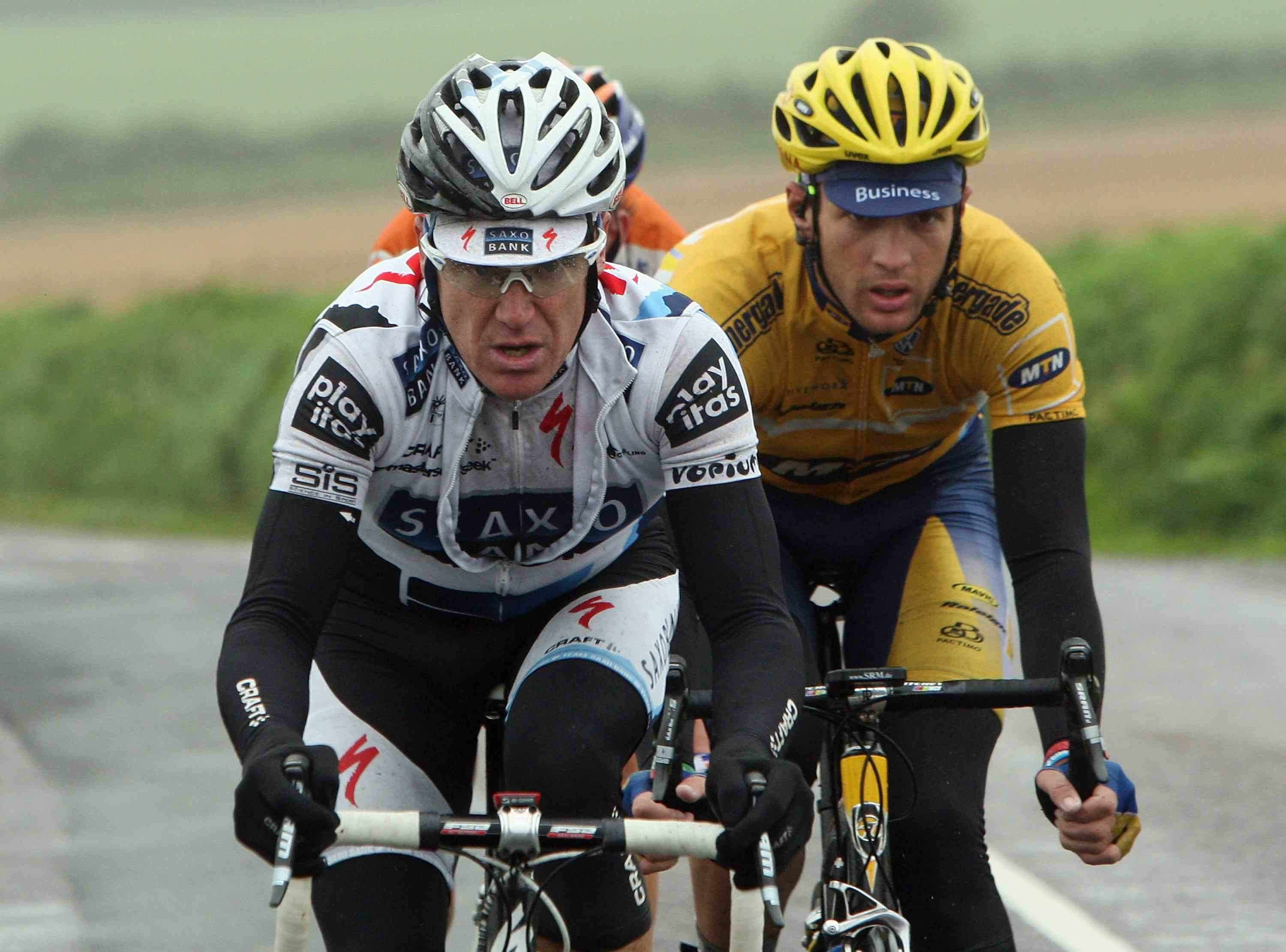Stuart O'Grady of Australia and Saxo Bank (L) leads the breakaway group through the rain during Stage Three of the 2009 Tour of Ireland from Bantry to Cork on August 23, 2009 in Cork, Ireland.