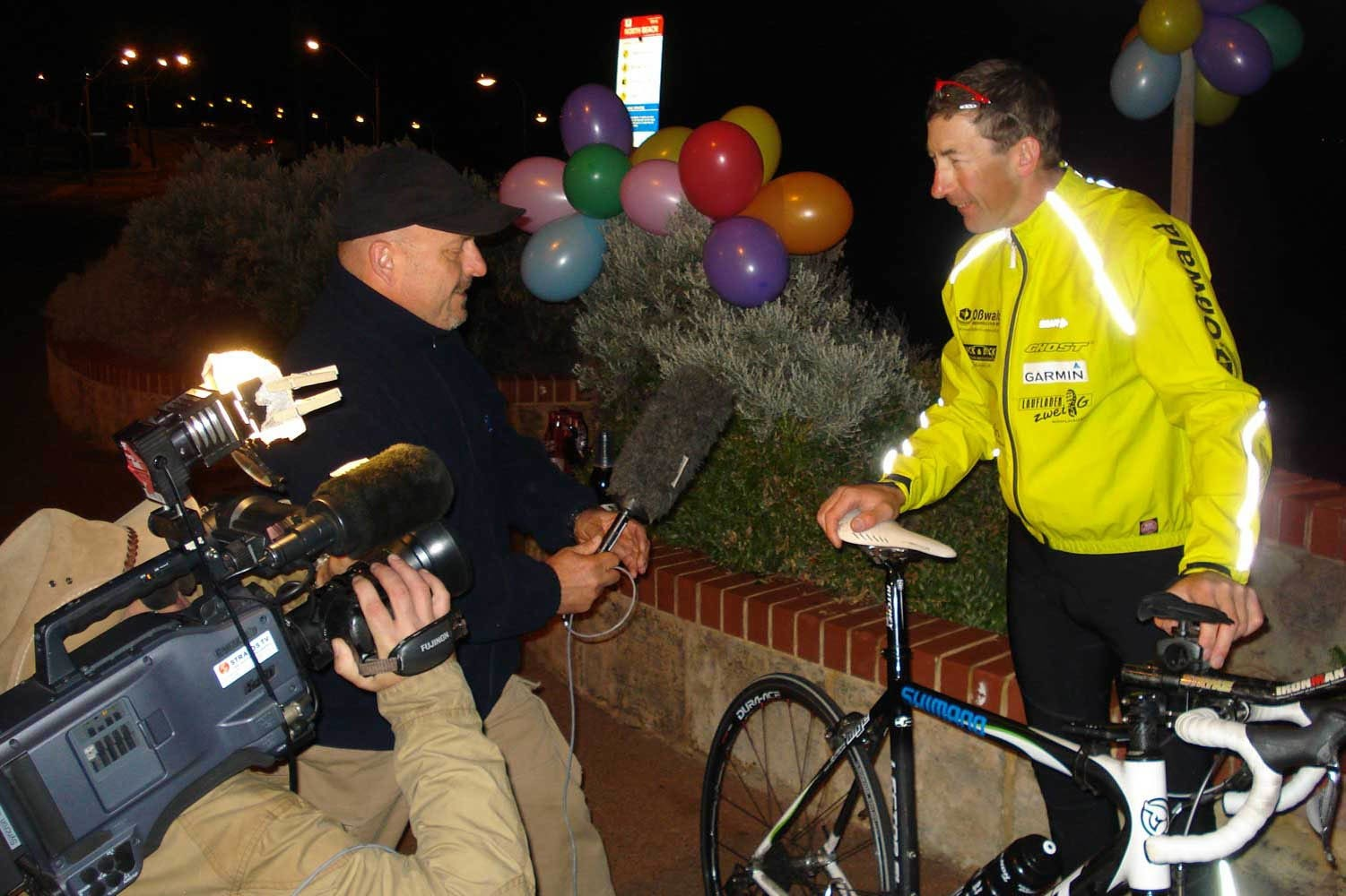 German cyclist Guido Kunze in Australia after setting his world record.
