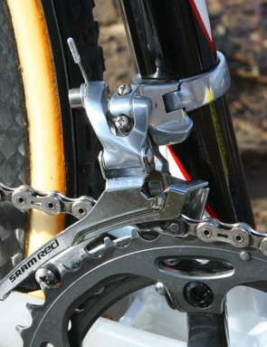 The SRAM 'Red' front derailleur uses a stiffer steel cage borrowed from the Force model
