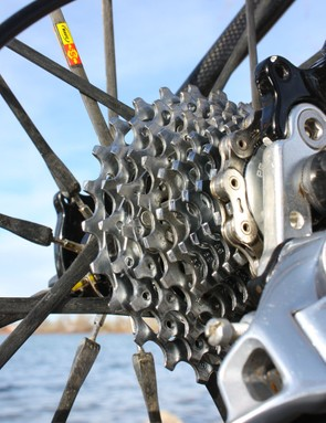 Like most top SRAM-sponsored pros, Anthony opts for the second-tier PG-1070 cassette for its better ability to deal with mud