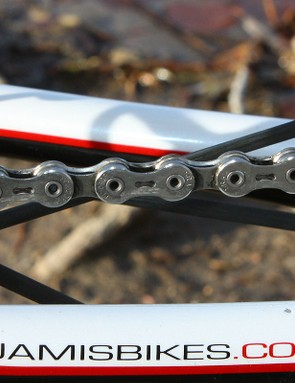 Anthony runs a SRAM PC-1090R chain with perforated side plates and hollow pins