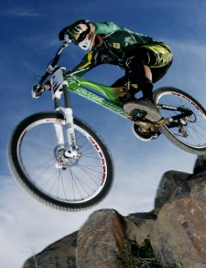 Greg Minnaar of South Africa in action in the elite men's downhill race during the 2009 Mountain Bike & World Trials World Championship held at Mt Stromlo on September 6, 2009 in Canberra, Australia.