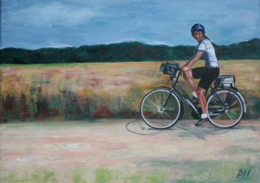 """""""Kimberlee Coasting In Holland"""", an 18"""" x 24"""" oil on canvas found on the Kimberlee's Bikes eBay store page."""