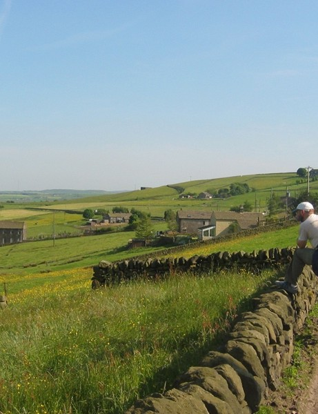 The author soaking up some South Pennines scenery above the town of Mytholmroyd
